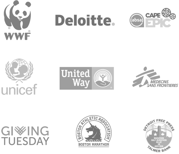 WWF, Deloitte, Cape Epic, Unicef, Tough Mudder, Medecins Sans Frontieres, Missing Children Europe